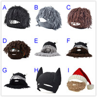 Yarn Dyed active manual - 2017 Fashion Funny winter Hats Cloches Wig beard creative wool hat beanies manual knitting savage