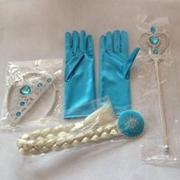 Wholesale Children Bursts of Jewelry Ice and Snow Odd Crown with Gloves Wig Braids Magic Bar Suit