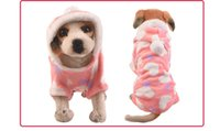 Wholesale Warm Winter Dog Coat Coral Cashmere Soft and Warm Puppy Jacket Lovely Peach heart Pattern Four Feet Clothes O neck With Hat Outwear D