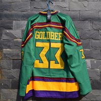 Wholesale Vanled Mighty Ducks Movie Jersey Greg Goldberg Ice Hockey Jersey Stitched All Sewn Green size Small M xl