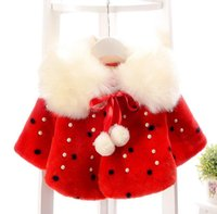 Wholesale 2017 Spring Winter Girls Poncho Baby Girl Fur Collar Shawl Outwear Cute Kids Cape With Inlaid Pearl For Years Baby
