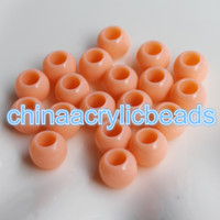 achat en gros de 17mm ronde-500Pcs / Set 13 * 17MM Acrylic Round Chunky Beads Whlesale 9MM Large Hole Middle Hole Spacer Beads