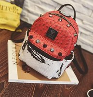 Wholesale leather backpack girl school bag special design Fashion red black Leisure College Designer Backpack Bags