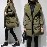 Wholesale 2016 New Europe winter lamb wool suede cotton cotton stitching down girls long coat