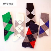 argyle socks cotton - new fashion colorful ARGYLE SOCK diamond striped Styles Mens womens combed cotton socks wedding gift socks for unisex female male dressing