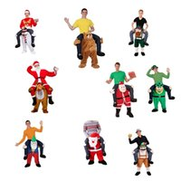 Wholesale Funny Carry Me Santa Claus Snwman Reindeer Mascot Costume Ride On Fancy Dress Red Santa Claus Party Clothing Novelty Christmas Costumes