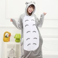 adult footed sleepwear - 2016 Anime Cosplay Full Flannel Totoro Sleepwear Regino Knitting Adult Footed Girls Pajamas Carnival Halloween Costume for Women