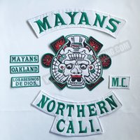 Wholesale Hot Sale Mayans North California Motorcycle Embroidery Iron On Patch Full Back of Patch Biker Vest Badge cm