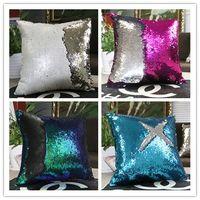 Wholesale 2016 Hot Mermaid Sequine Pillowcase Two Tone Glitter Mermaid DIY Cushion Cover Sequins Glitter Shinning cm cm