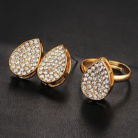 Wholesale Fashion contracted the bride married diamond crystal jewelry earrings stud earrings suit ring sets manufacturers