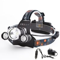 Wholesale Lm CREE XML T6 LED Headlight Headlamp Head Lamp Light mode torch EU US Car charger for Fishing Lights
