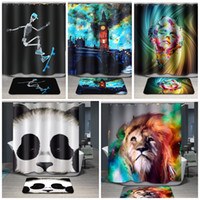 Polyester animal print curtains - 32cy Animal Pure Polyester Grommet Bathroom Shower Curtain Waterproof Printing Cartoon Bath Curtains Factory Outlet High Quality Fabrics
