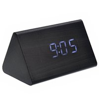 activate mechanical - Shaped Voice Activated White LED Digital Wood Wooden Alarm Clock with Date Temperature Black