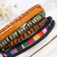 Wholesale The new selling multilayer rainbow leather bracelet Weave the rivet wooden bead bracelet by hand