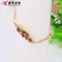 Wholesale 14K Gold Plated Bracelets For Women Cubic Zirconia Jewelry Link Chain Xuping Brand Elegant Copper Bracelet