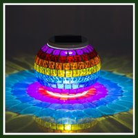 Wholesale Solar Powered Mosaic Glass Ball LED Garden Lights Color Changing Solar Table Lamps Waterproof Solar Outdoor Lights for Christmas Home Yard