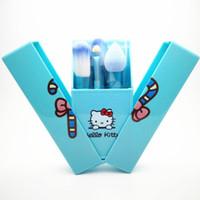 Cheap Top Quality Hello Kitty 8 Pcs Set Makeup Brush Set Professional Makeup Tools Portable Storage Box Full Set Free Shipping