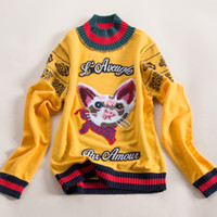 Wholesale HIGH QUALITY Newest Fashion Fall Winter Designer Sweater Women s Long Sleeve Cat Embroidery Wool Pullover Sweater