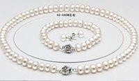 Véritable collier de perles d'eau douce bracelet 925 boucles d'oreilles en argent 3 ensembles cadeaux de bijoux de mariage pour les femmes
