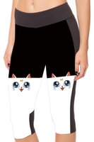 Straight big capri pants - 2016 New Patterns Cute Cat Printing High Waist Pants Big Size S To XL Purple Cat Women Capri Sweatpants