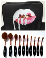 Wholesale Kylie Oval Makeup Brush Rose Gold Cosmetic Foundation BB Cream Powder Blush pieces Makeup Tools bag GIFT