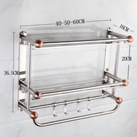 Wholesale stainless steel double layer solid towel racks home bathroom hardware
