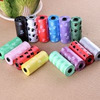 Wholesale 1 Roll with Degradable Pet Dog Waste Poop Bag With Printing Doggy Bag Color Random