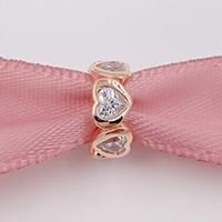 Día de San Valentín 925 cuentas de plata Corazón Rose espaciadores encanto se adapta al estilo europeo Pandora pulseras de joyería collar 781252CZ oro rosa chapado