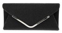 bag closure clips - DC1989 Women Evening Bag Black Bead Mesh Magnetic Button Closure Long Chain Shiny Rhodium Plated V Metal Clip Inner Side Pocket