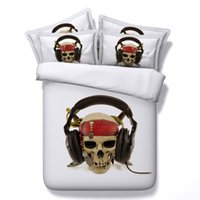 Cheap Abstract Skull Listening to Music Digital Printing 4-Piece White Duvet Cover Sets Bedspread Bed Linen Bed Sheets 3D Bedding set Queen King