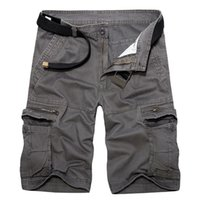 arrival bermuda - New Arrival Mens Cargo Shorts Casual Loose Shorts Men Summer Solid Cotton Shorts Homme With Pockets Bermuda Plus Size