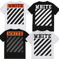 Men Crew Neck Short Sleeve 2017 High Quality OFF WHITE T Shirts Man Woman Cotton Stripe Tee Short Sleeve Kanye West OFFWHITE Tshirt Hip Hop Streetwear