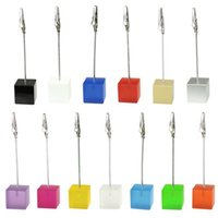 Wholesale Cube Stand Alligator Wire Card Note Picture Memo Photo Clip Holders Table Wedding Favor Place CM