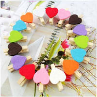 Wholesale 5000pcs Love multicolour folder wedding small wooden clip mini wooden clip color Heart Shape Wooden Paper Note Memo Clip