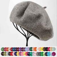 Wholesale new arrivals Adult Candy Colors Caps Hat all match beret winter warm woolen cap hat more colors