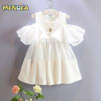 Wholesale White Girls Dress New Summer Mesh Girls Clothes Dew Shoulder Princess DressChildren Summer Clothing Baby Girls Dress