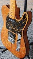 al por mayor guitarras llama roja-Custom Tele HS Anderson Hohner Madcat Vendimia Guitarra Eléctrica Raras Flame Maple Top Amarillo Acabado Nicer Red Turtle Pickguard Cuerpo Encuadernación