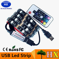 background decorations - 5V USB LED strip RGB LED Strip Light Laptop Computer TV Background Flexible Lighting With Mini RGB Controller Remote controller