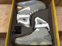 Wholesale Air Mag Mens Back To The Future Lighting Mags Mens Basketball Shoes With LED Lights High Top Sneakers Black Grey with Box