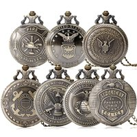 Wholesale 2016 Hot United States Army Navy Airforce Marine Corps Coast Guard Police Firefighter Full Hunter Pocket Watch Chain Xmas Gift