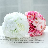 artificial flora - 11Pcs Peony Rose Silk Artificial Flower Bridal Bridesmaid Hydrangeas Bouquet Wedding Flowers Latex Real Touch Flowers Flora