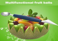 Wholesale Stainless Steel Fruit Of Carve Patterns Or Designs On Woodwork Dual Cut GuoQi Digging Scoop Ice Cream Watermelon Cantaloupe Carve Patterns