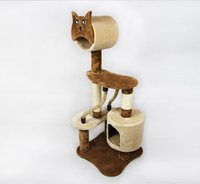 Wholesale Space Saving Condo Furniture Cat Tree Soft Faux Fur Scratching Post Kitten Pet Play Toy House