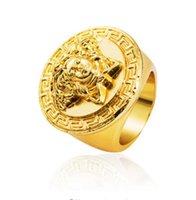 Wholesale Titanium steel Jesus piece Ring Hip hop Rock K Gold Hip hop style Men K Golden Plated Ring for Male Medusa rings