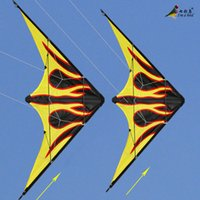 Wholesale NEW Outdoor Fun Sports m Dual Line Flame Stunt Kite With Handle And Line Good Flying Factory Outlet