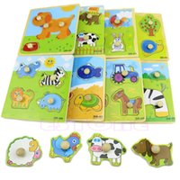 Wholesale Shape Adjustable Colorful Baby Kids Educational Brick Wooden Animal Puzzle Toy A16159