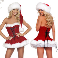 Wholesale Womens Piece Red Velvet Christmas Corset Set