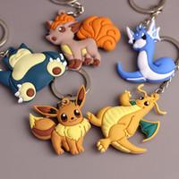 Wholesale 5 Style Cartoon Poke Figures PVC Keychains Anime Pikachu Snorlax Vulpix Dragonite Dratini Eevee Keyring Cute Pendants