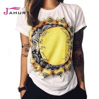 Cheap Wholesale-Jahurto Fashion T Shirt Summer Women 2016 Live By The Sun Love By The Moon Print Punk Rock Fashion Graphic Tees Women T-shirts