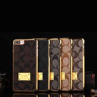al por mayor 5s oro-Caso del teléfono celular del cuero del diamante de Bling Luxuy Caso duro de la cubierta de la galjanoplastia del oro de la PC para el iPhone 7 7plus 6 6S Más 5S Borde Samson S7 borde S6 NOTA5
